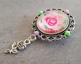 Roses Brooch - Silver Filigree Pink and Green Roses cabochon brooch pin