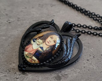My Pet - Dark Gothic Black Heart Wing Girl with a Cat cabochon charm pendant necklace