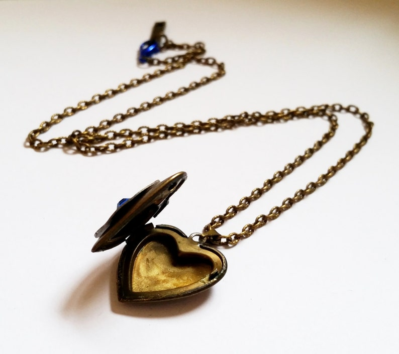 Gothic Steampunk bronze and Blue Crystal dial gear heart shape locket charm pendant necklace Israel Hand made Clock of the Heart