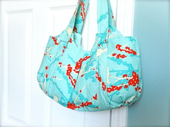 Sale - Everyday Purse - Large Tote - Shoulder Purse - Blue Purse - Shoulder Bag - Joel Dewberry Turquoise Purse