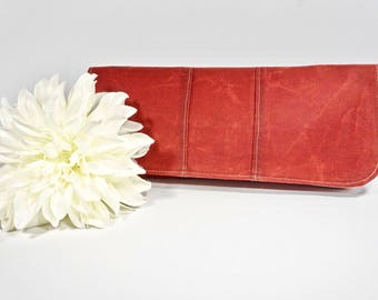 Sale Simply Clutch | Red Waxed Canvas Clutch | Wedding Clutch | Evening Clutch Purse | Baguette Bag | Bridesmaid Clutch | Bridal Purse