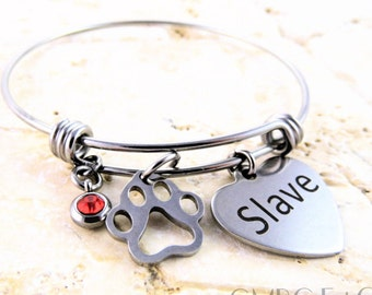 "Steel Slave Bangle with Steel ""Pet"" Paw Charm - Limited Quantity"