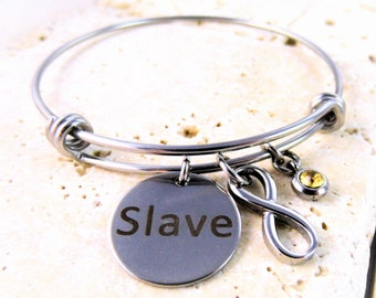 Steel Infinity, Slave Tag with Rhinestone Bangle  - Limited Quantity
