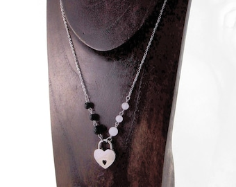 Locking Stainless Steel Day Collar with Lava Rock Beads & Natural White Jade, Essential Oil Ready Necklace