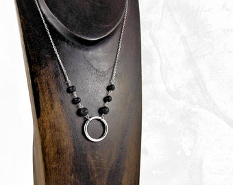 O Ring Necklace with Lava Rock Beads, Essential Oil Ready Necklace