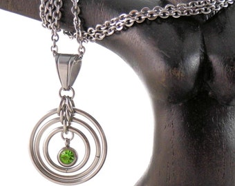 "Stainless Steel with Rhinestone,  ""Ripples"" Day Pendant  and Chain"