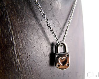 Steel Padlock Charm Necklace - 100% Stainless Steel