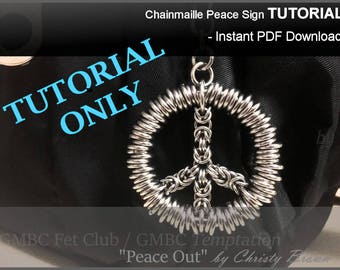 "Tutorial - ""Peace Out"" Chainmaille Peace Sign Tutorial - Instant PDF Download"
