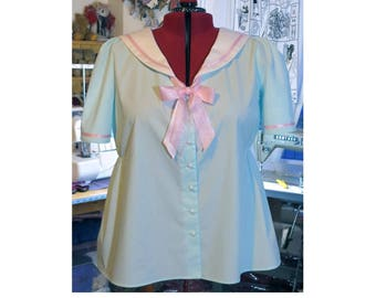 plus size sailor blouse made to order blouse with sailor collar any size any colour combination