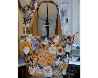 cat purse cats print bucket bag. fully lined zip top realistic cat bag UK seller