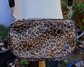 8a3305c331 fuzzy leopard print velboa handbag clutch purse with black piping and  detachable strap UK seller