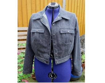 50s style 'denim' jacket in black check moleskin fabric with blue paisley silky lining UK seller