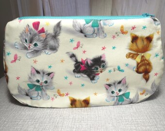 adorable kittens extra long make-up bag cat cosmetic bag zippered pouch Free post to UK