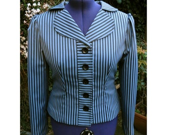 1940s jacket ode to Peggy Carter blue and black stripe jacket UK seller
