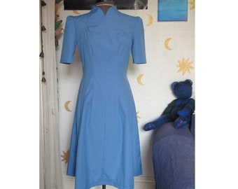 1940s dress tiny blue gingham. 40s style dress