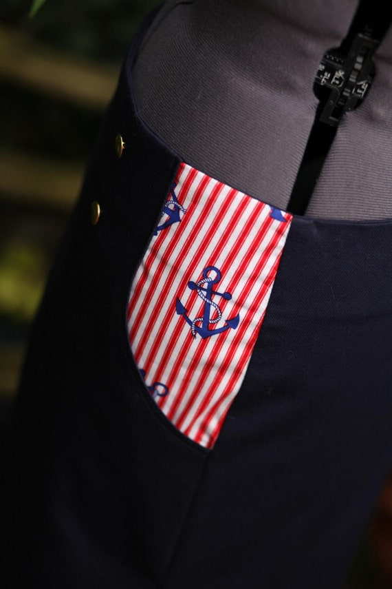 SALE nautical skirt sailor skirt. navy blue with red white stripes and blue anchors. UK seller