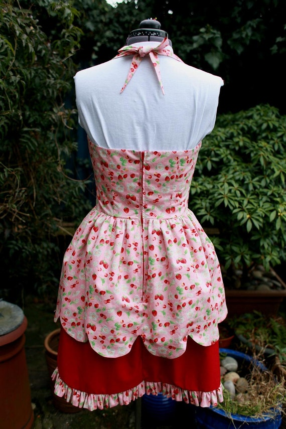 lolita skirt with dress SALE halterneck sweet 2 strawberry dress layer scalloped 0qABz