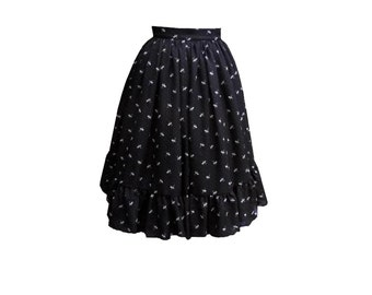 1950's skirt chiffon skirt tea length black cat skirt