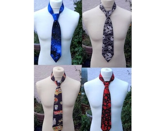 long tie galaxy print,  blood splatter, motherboard, sushi, bat and moon print or custom tie