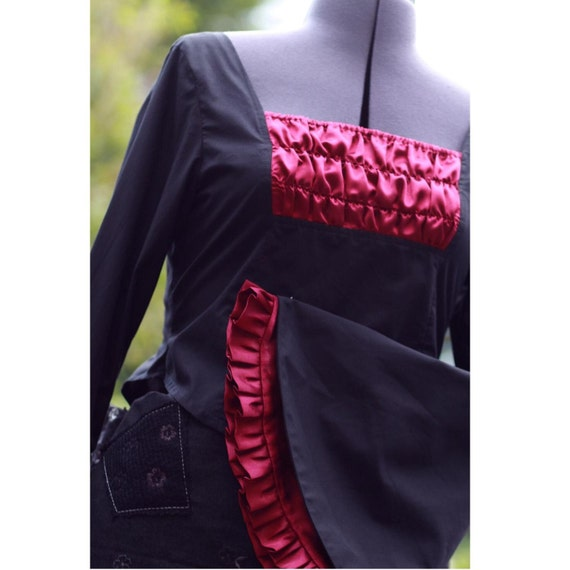 blouse sleeves UK postage gothic lolita huge Free black SALE burgundy with and TX7wq6
