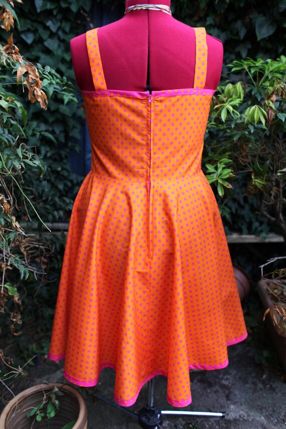 and 1950s orange SALE dress cerise full dot skirt rockabily circle with dress polka wxtwdEgq