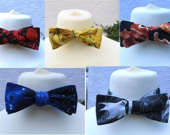 self tying bow tie bacon, galaxy, bananas, blood splatter, chevron or ghost print or custom bowtie