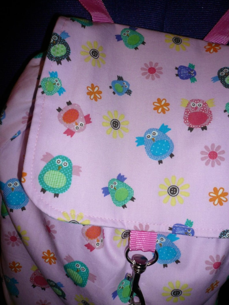 cute pink owl backpack with spearmint polka dot lining adjustable straps