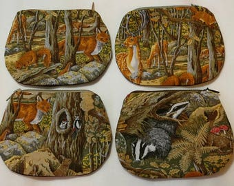 woodland  animals purse foxes, badgers, deer and squirrel, woodpecker and fox   UK seller