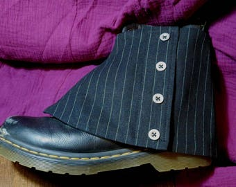 mens spats black linen pinstripe adjustable size