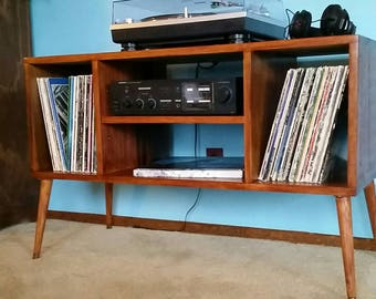 Record Player Stand Mid Century Modern As Entertainment Center Furniture  With Vinyl Storage And Handmade Contemporary Media Console