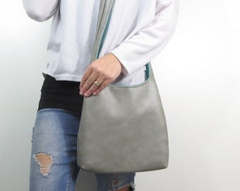 2bf27dca71 gray leather purse design your own gray faux leather cross body bag or  shoulder purse two sizes. solid or pattern interior.