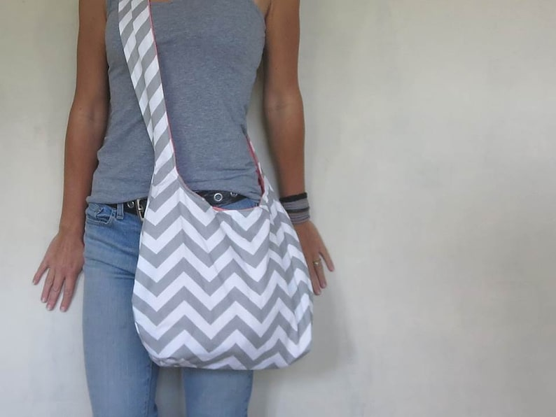 b6af9a0db170 Cross body hobo bag. chevron purse choose large or medium handbag. gray and  white purse.