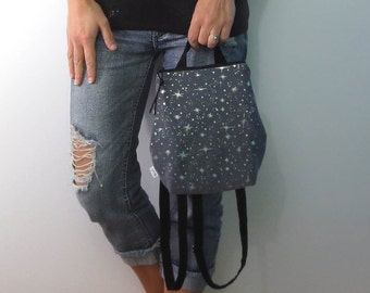 small backpack purse in black princess sparkle with zipper closure and adjustable straps. design your own choose zipper color.