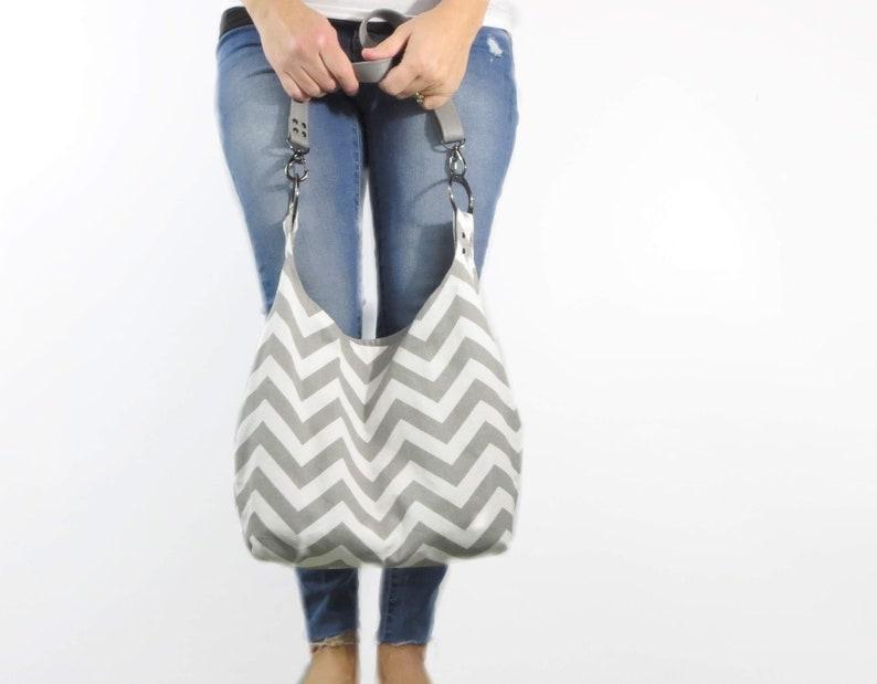 Crossbody hobo bag. chevron purse large bag. gray and white image 0