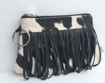 Black cow print fringe clutch. small purse with two zip pockets.  handbag. Design your own options.