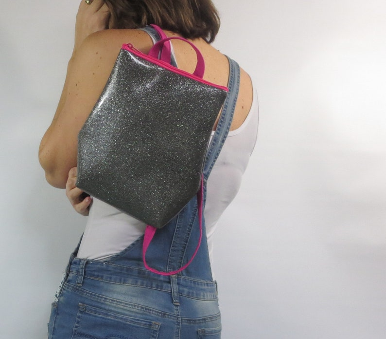 small backpack. silver glitter backpack purse small handbag with adjustable straps glitter vinyl wipes clean durable