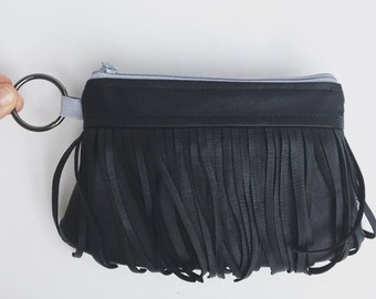 black leather fringe clutch. small purse with two zip pockets. Faux leather handbag. Design your own options.