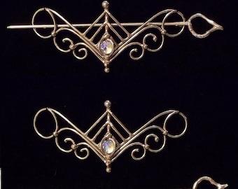 Bronze & Crystal Barrette design 2