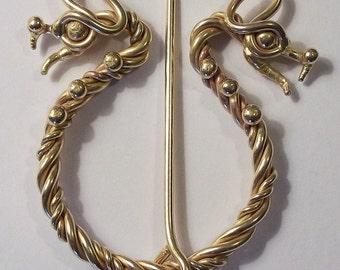 Bronze Twisted Dragon Pennanular Brooch.