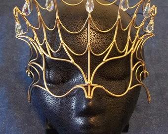 Bronze & Crystal Spider Mask