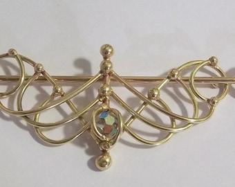 Bronze & Crystal Barrette Design 5