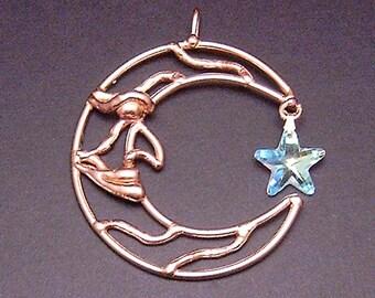 Bronze & Crystal Moon Sun Catcher