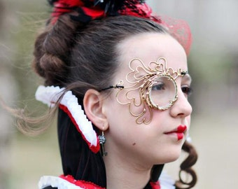 Bronze Queen of Hearts Steampunk Monocle