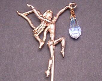 Bronze & Crystal Fairy Hair Stick