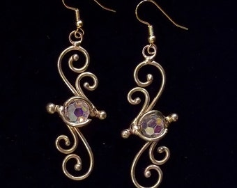 Bronze & Crystal Earrings (dsn-5)