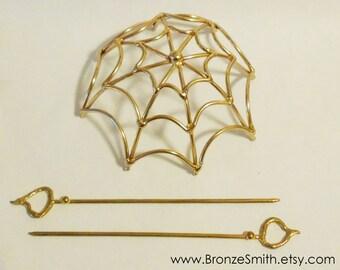 Bronze Spider Web Bun Cover