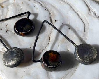 Double Disc Dangles -Bronze and Ironstone
