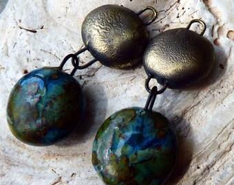 Ceramic Double Disc Earring Dangles-Mystic Jade
