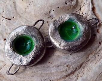 Ceramic Mini Rockpool Earring Connectors - Green