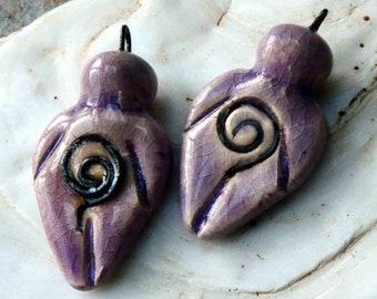 Ceramic Goddess Earring Charms - Amethyst